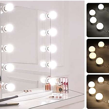 USB Dimmable and Adjustable 3 Colour Makeup Mirror Lights