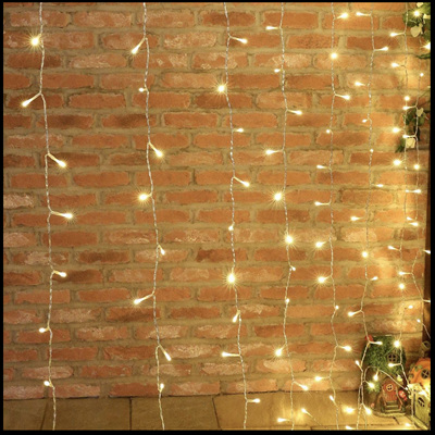 USB or Battery Powered Fairy Curtain Lights 3x3m 300LEDs with Remote Control - Warm White