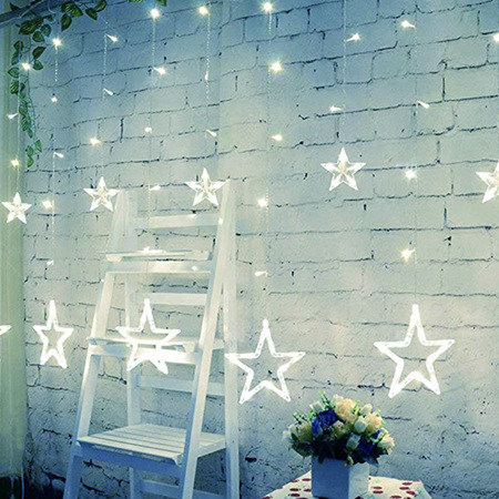 USB or Battery Two Way Powered 2.5mx1m Star Curtain Lights - Cool White