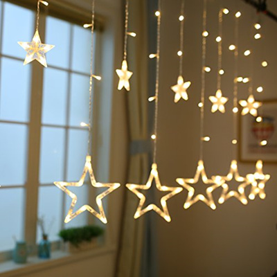 USB or Battery Two Way Powered 2.5mx1m Star Curtain Lights - Warm White