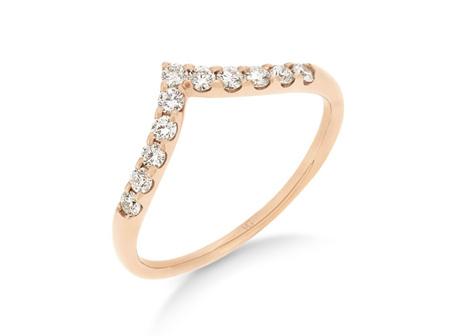 'V' Shaped Claw Set Diamond Ring