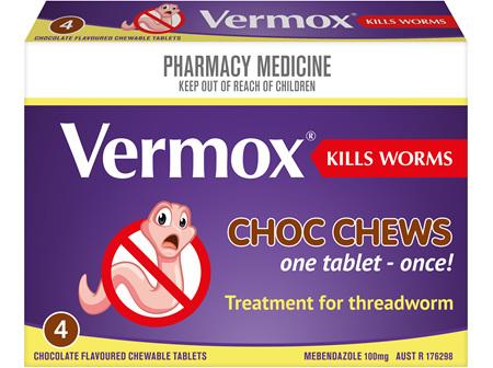 VERMOX Choc Chews Tabs 4s
