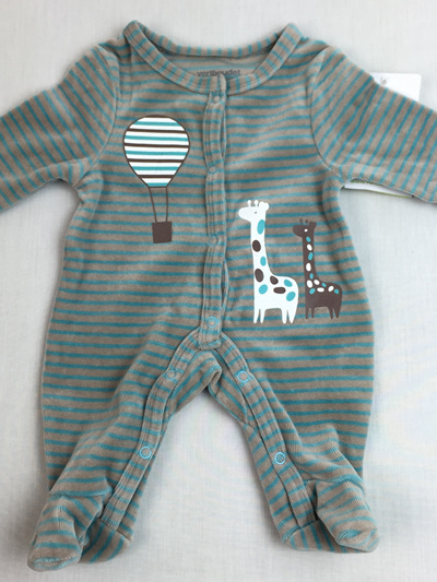 Vertbaudet grey and Turquoise stripe all in one - organic cotton