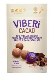 Viberi Cacao 70% Dark Choc Rolled Freeze Dried NZ Blackcurrants - 90g