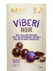 Viberi Noir 58% Dark Choc Rolled Soft Dried NZ Blackcurrants - 90g