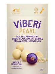 Viberi Pearl White Choc Rolled Freeze Dried NZ Blackcurrants - 90g