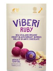 Viberi Ruby White Choc Rolled Freeze Dried NZ Blackcurrants - 90g