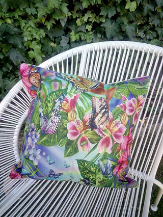 Vibrant Butterfly Garden Cushion Cover