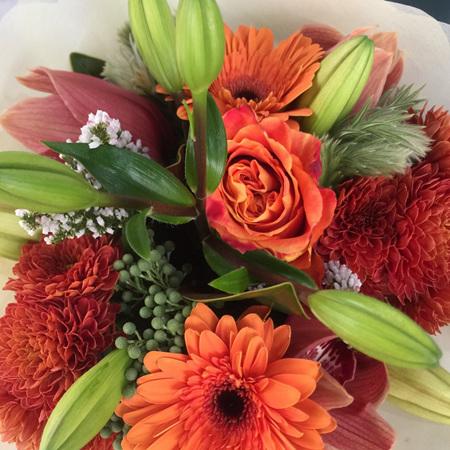 Vibrant Orange/Red Tones Bouquet & Posies