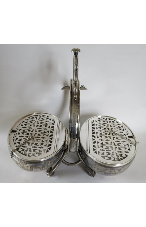 Victorian silver plate  folding muffin dish