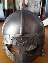 Helmet 3 - 8th  to 11th Century Viking Helmet with Half Maille Neck Guard.