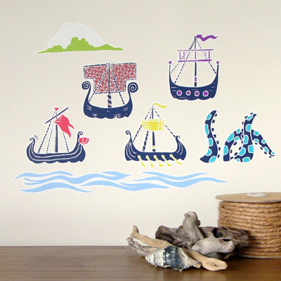 Viking Sailing Ships wall decal