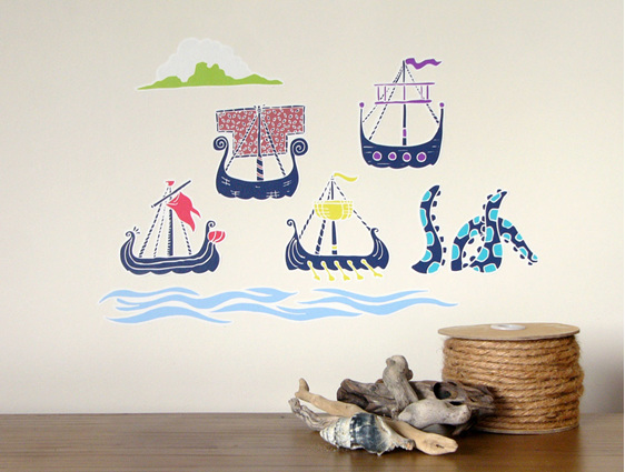 Viking Sailing Ships wall decal StickyTiny