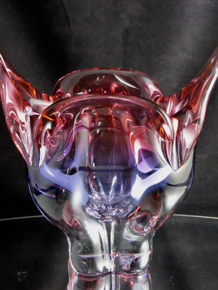 Vintage Art Glass Cat's Head Vase in Pink and Blue