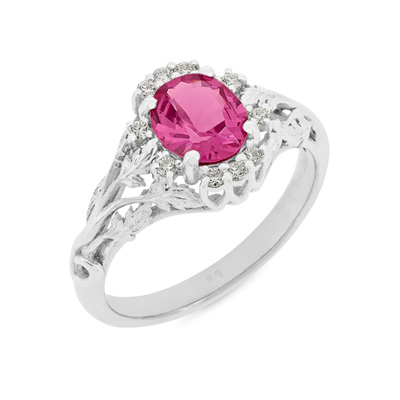 Vintage Pink Spinel and Diamond Ring