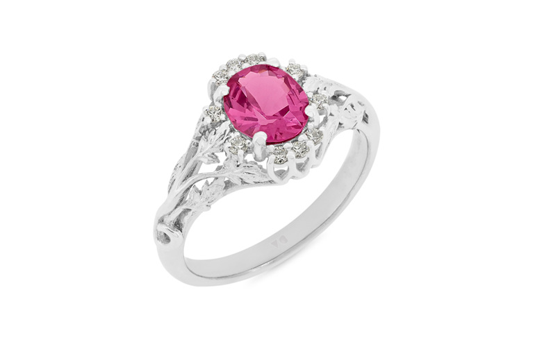 vintage art nouveau pink spinel and diamond ring