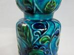 Vintage Bay Keramik Vase Flower Power Motif in Turquoise, Blue and Green