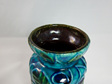Vintage Bay Keramik Vase Flower Power Motif in Turquoise, Blue and Green