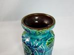 Vintage Bay Keramik Vase in Stylised Flower Motif in Turquoise, Blue & Green