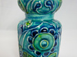 Vintage Bay Keramik Vase in Stylised Flower Motif in Turquoise, Blue & Green