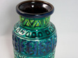Vintage Bay Keramik West German Vase in Turquoise, Blue and Green