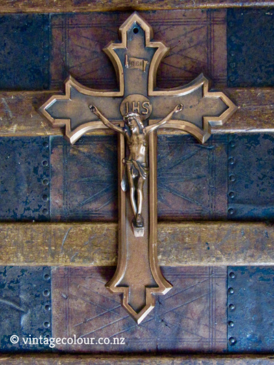 Vintage Belgian Crucifix Copper Finished Metal / Cross