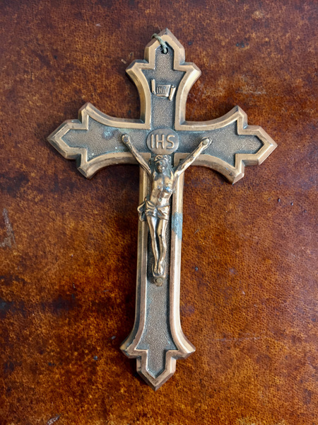 Vintage Belgian Metal Crucifix with Copper Finish