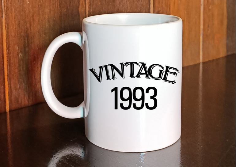 vintage birth year mug