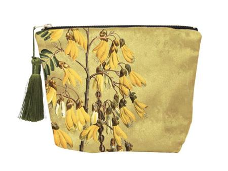 Vintage Botanical Kowhai Velvet Cosmetic Bag