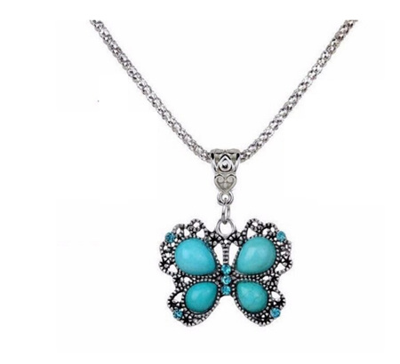 Vintage Butterfly Pendant Necklace