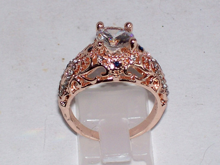 Vintage Clear CZ Rose Gold Ring Size 8