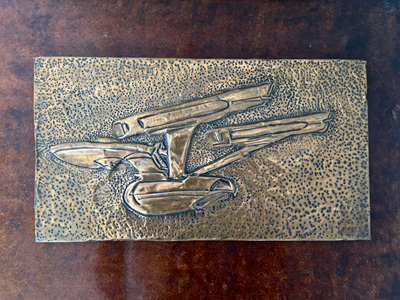 Vintage Copper Art Wall Plaque of Star Trek's Starship Enterprise