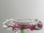 Vintage Czech Footed Glass Dish in Pink and Green