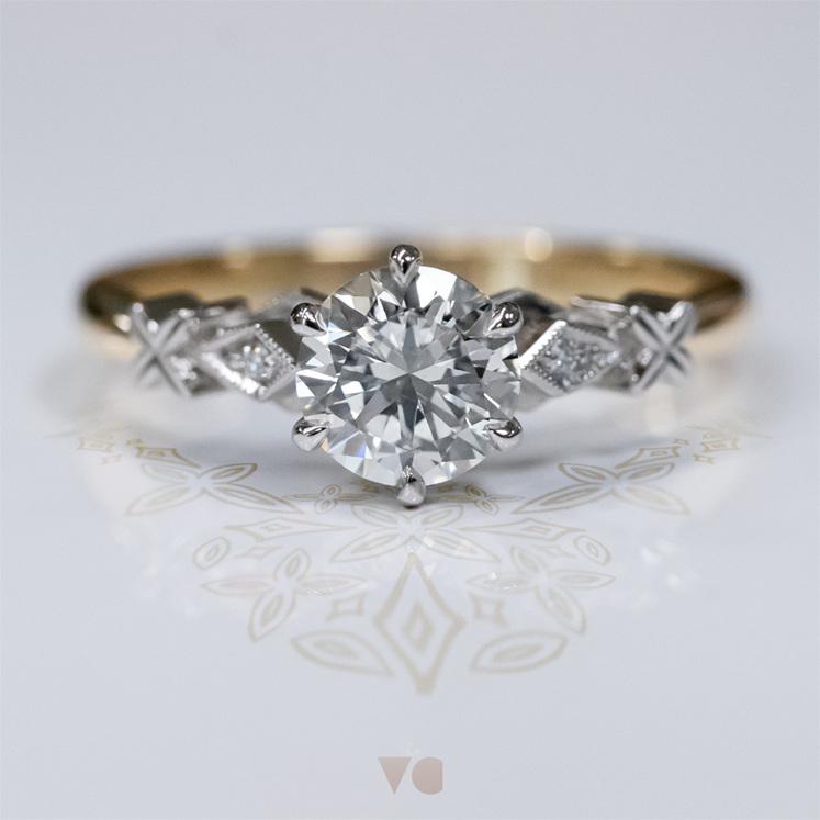 vintage diamond solitaire ring milgrain edge celtic details 18ct yellow gold