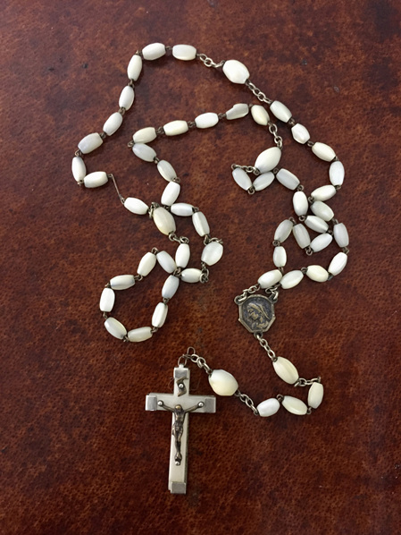 Vintage French Lourdes White Rosary Beads with Metal Framed Crucifix