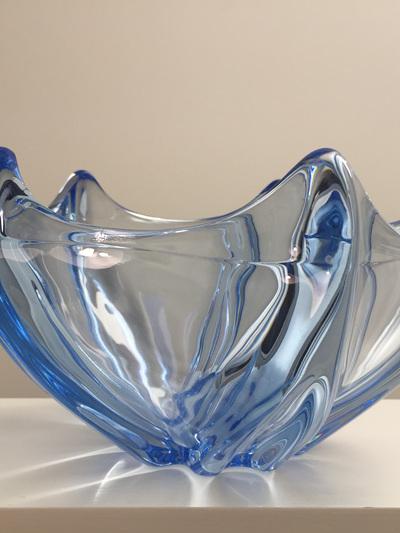 Vintage Glass Bowl with Aquamarine Star Design