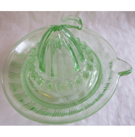 Vintage green glass juicer