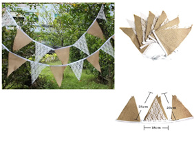 Vintage Hessian Burlap and Lace Buntings