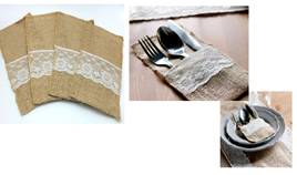 Vintage Hessian Burlap Cutlery Pouch