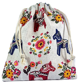 Vintage Horses and Flowers Mini Drawstring Bag
