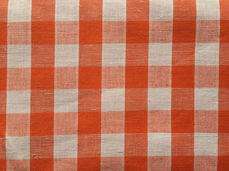 Vintage Italian Linen / Cotton Blend Gingham Fabric - Orange and White