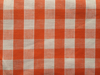 Vintage Italian Linen / Cotton Blend Gingham Fabric - Orange and White