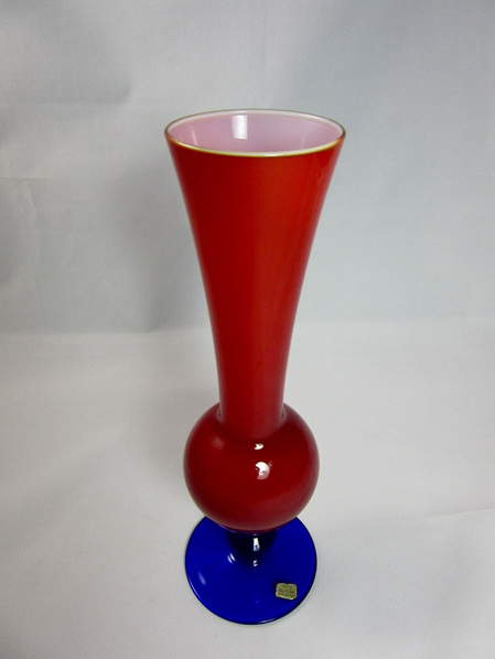 Vintage Italian Opaline Glass Vase in Red and Blue