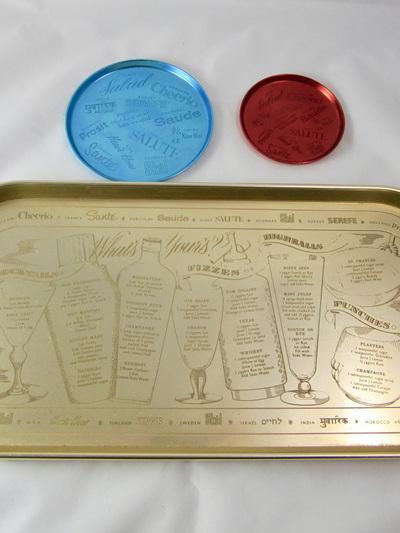 Vintage Kaymet Aluminium Cocktail Recipe Tray and Coasters