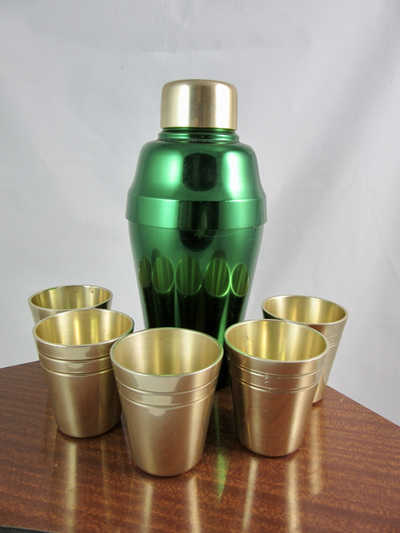 Vintage Kaymet Aluminium Cocktail Shaker and Shot Glasses