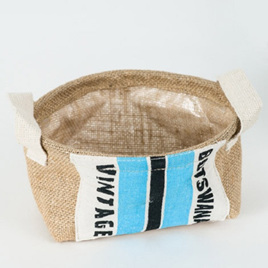 Vintage-Look Grain Sack Storage Basket