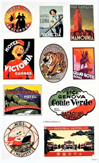 Vintage Luggage Label Stickers