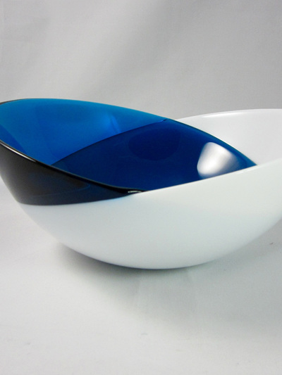 Vintage Mingle Duo Orrefors Glass Bowl in Blue and White