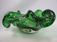 Vintage Murano Controlled Bubble Glass Bowl Green with Gold Foil Inclusions