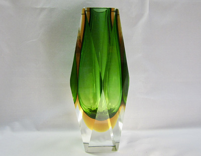 Vintage Murano Sommerso Faceted Glass Vase in Green and Amber